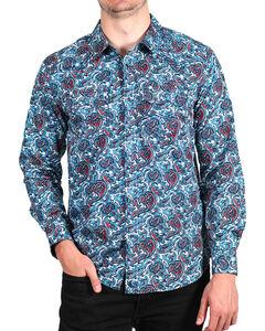 Cody James Men's Paisley Printed Long Sleeve Shirt - Big & Tall, Blue, hi-res