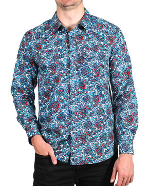 Cody James Men's Paisley Printed Long Sleeve Shirt - Big & Tall, Blue, hi-res