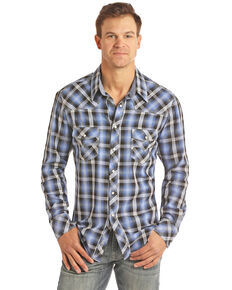 Rock & Roll Denim Men's Blue Large Crinkle Plaid Long Sleeve Western Shirt - Big , Blue, hi-res