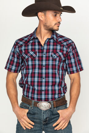 Cody James Men's Plaid Print Short Sleeve Shirt, Purple, hi-res