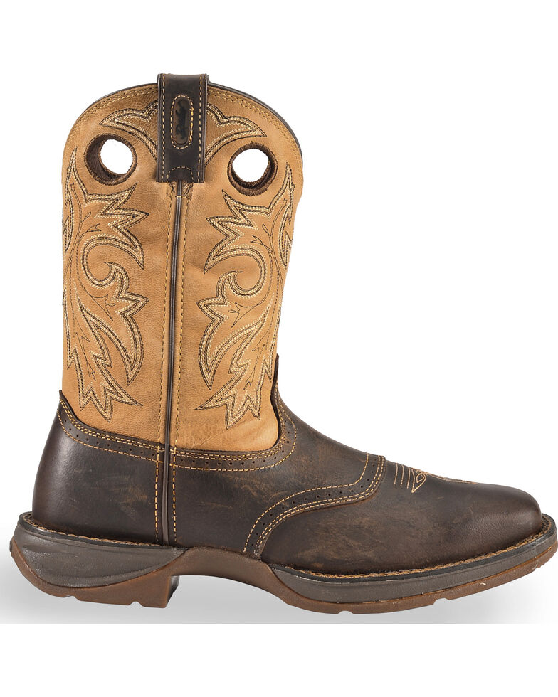Durango Rebel Saddle Cowboy Boots - Square Toe, Brown, hi-res