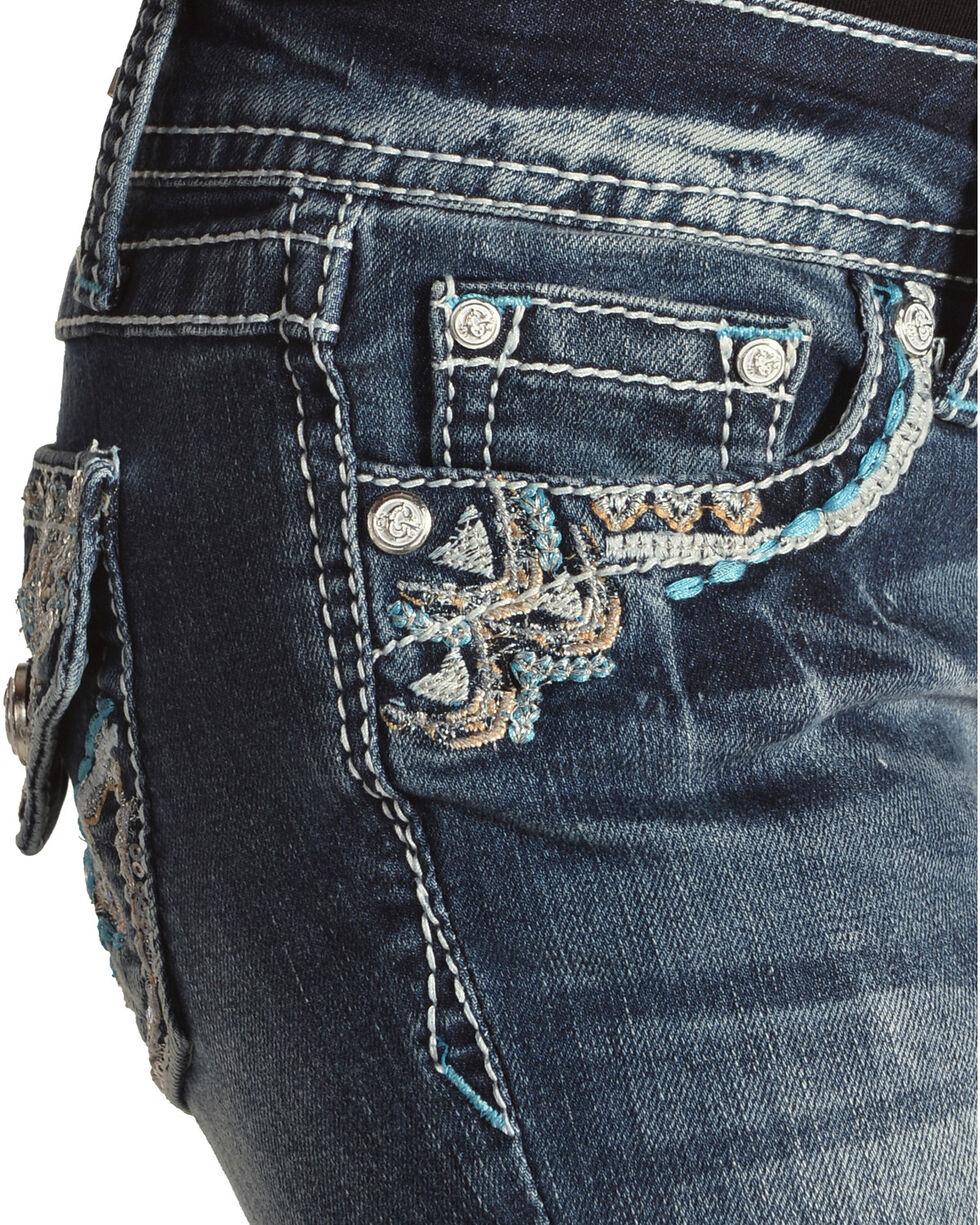 Grace in LA Girls' Blue Embellished Pocket Jeans - Boot Cut , Blue, hi-res