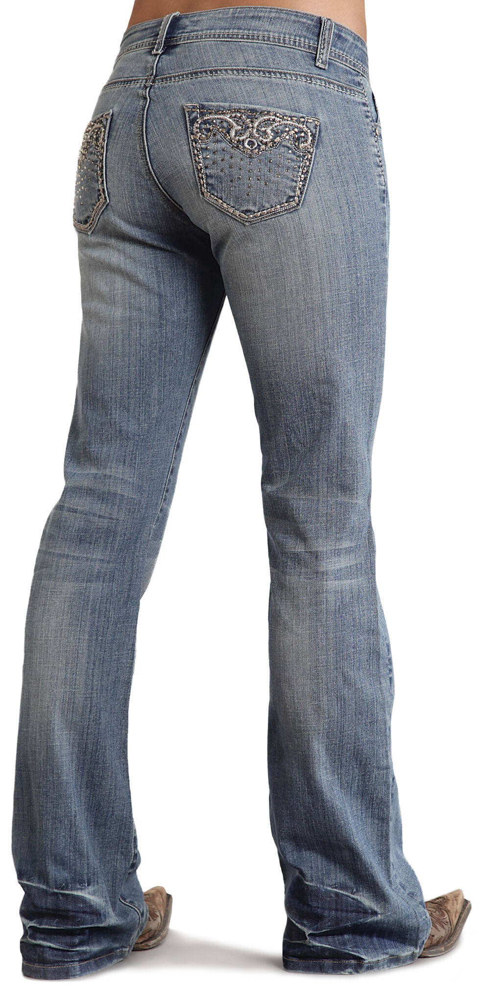Stetson Women's 816 Fit Distressed Embellished Boot Cut Jeans, Denim, hi-res
