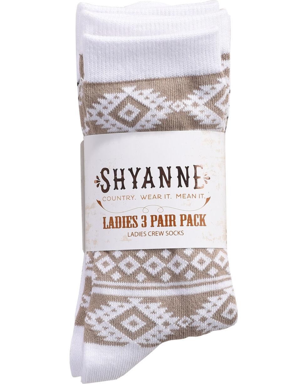 Shyanne Women's Aztec Stripe Crew Socks , Multi, hi-res