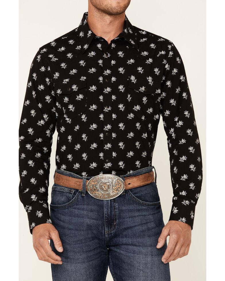 Rock & Roll Denim Men's Black Vintage Floral Print Long Sleeve Snap Western Shirt , Black, hi-res