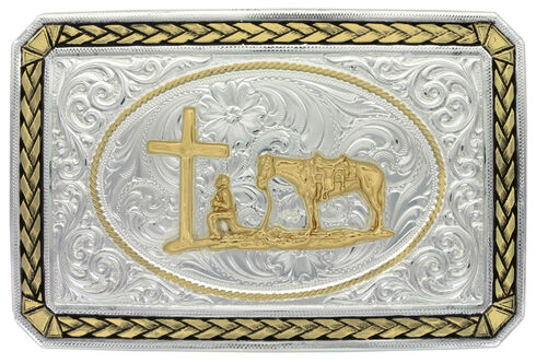 Montana Silversmiths Two-Tone Christian Cowboy Portrait Belt Buckle, Multi, hi-res