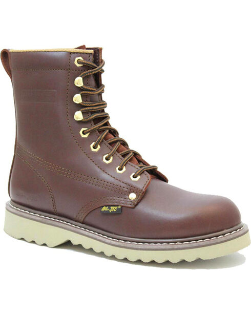 """Ad Tec Men's 8"""" Lace Up Soft Toe Work Boots - Round Toe, Brown, hi-res"""