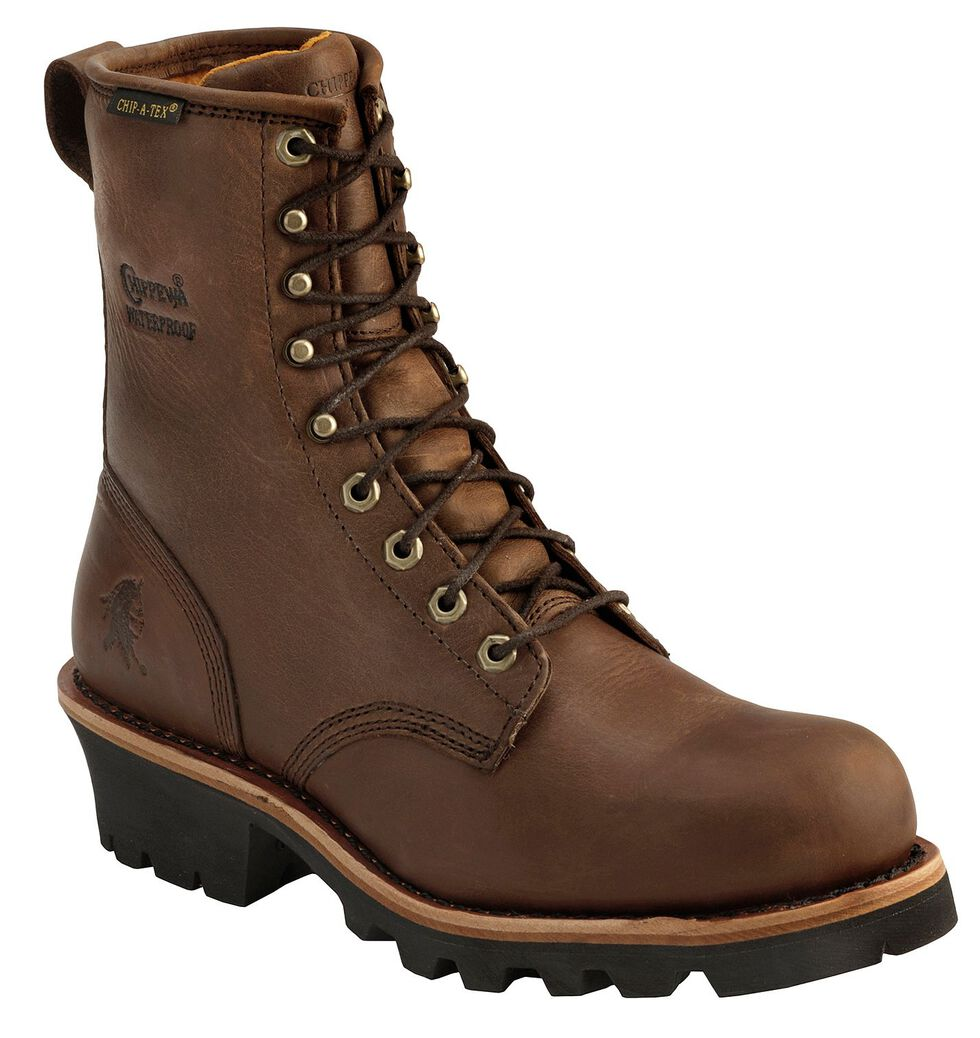 """Chippewa Women's Waterproof Insulated 8"""" Logger Boots - Round Toe, Bay Apache, hi-res"""
