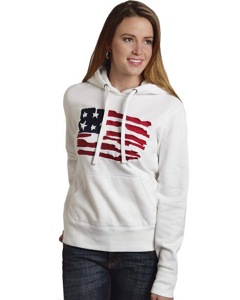 Roper Women's American Flag Hoodie, White, hi-res
