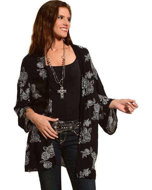 Luna Chix Women's Black Embroidered Rose Kimono , Black, hi-res