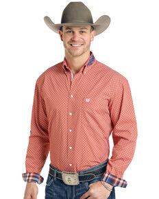 Rough Stock By Panhandle Men's Pinedale Vintage Geo Logo Long Sleeve Western Shirt , Orange, hi-res