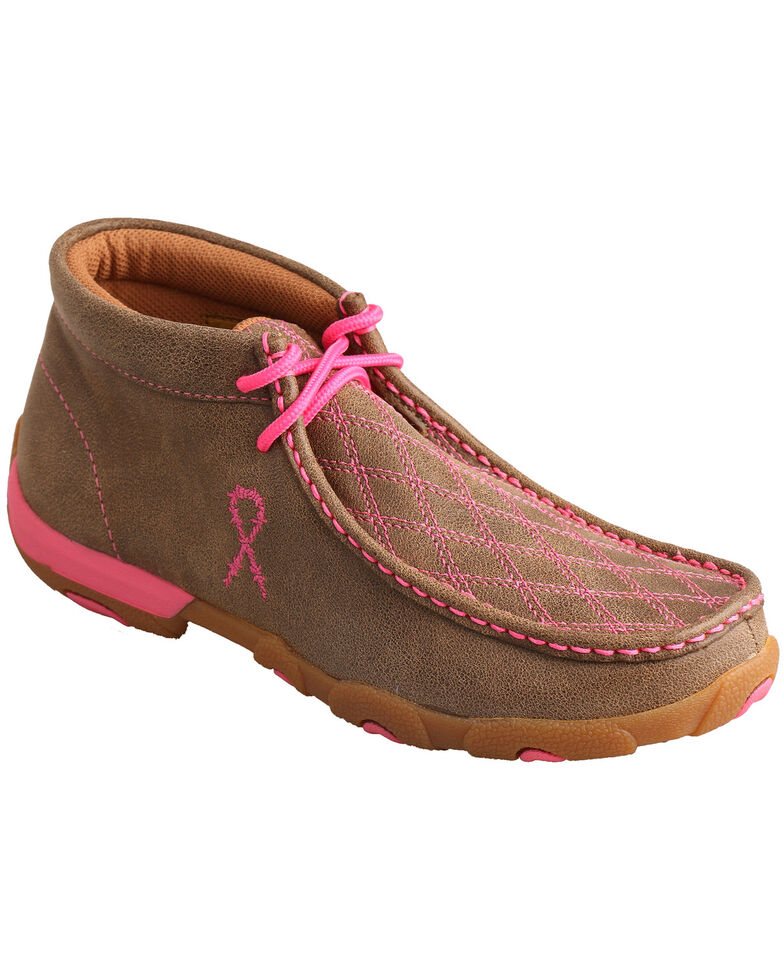 """Twisted X Women's """"Tough Enough to Wear Pink"""" Lace-Up Driving Mocs , Brown, hi-res"""