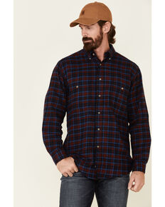 Wrangler Rugged Wear Men's Red Blue Ridge Long Sleeve Western Flannel Shirt - Big & Tall, Red, hi-res