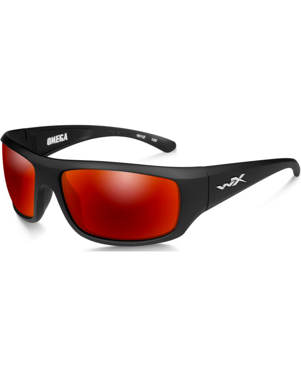 Wiley X Omega Polarized Crimson Mirror Matte Black Protective Sunglasses, Black, hi-res