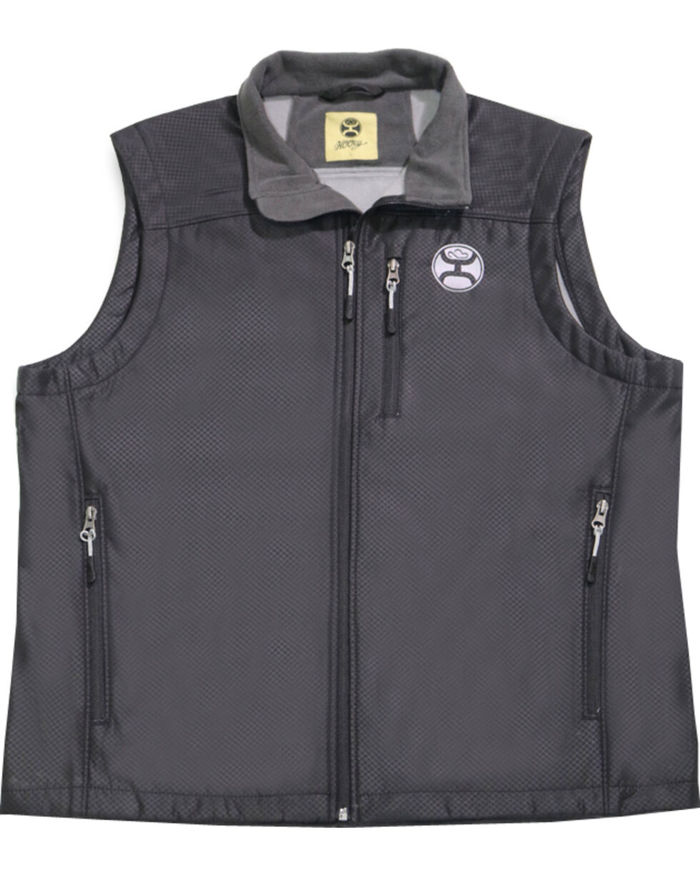 HOOey Men's Black Texture Grey Logo Vest , Black, hi-res
