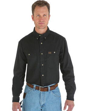 Wrangler Riggs Twill Work Shirt, Black, hi-res