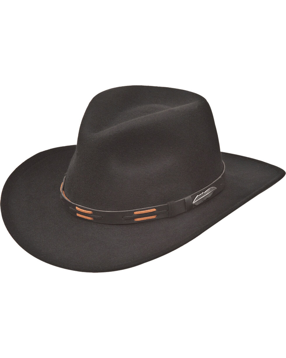 Black Creek Men's Crushable Wool Lacing Hat , Black, hi-res