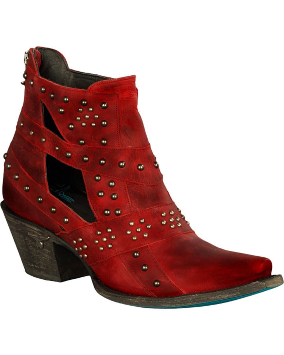 Lane Women's Red Studs & Straps Fashion Booties - Snip Toe , , hi-res