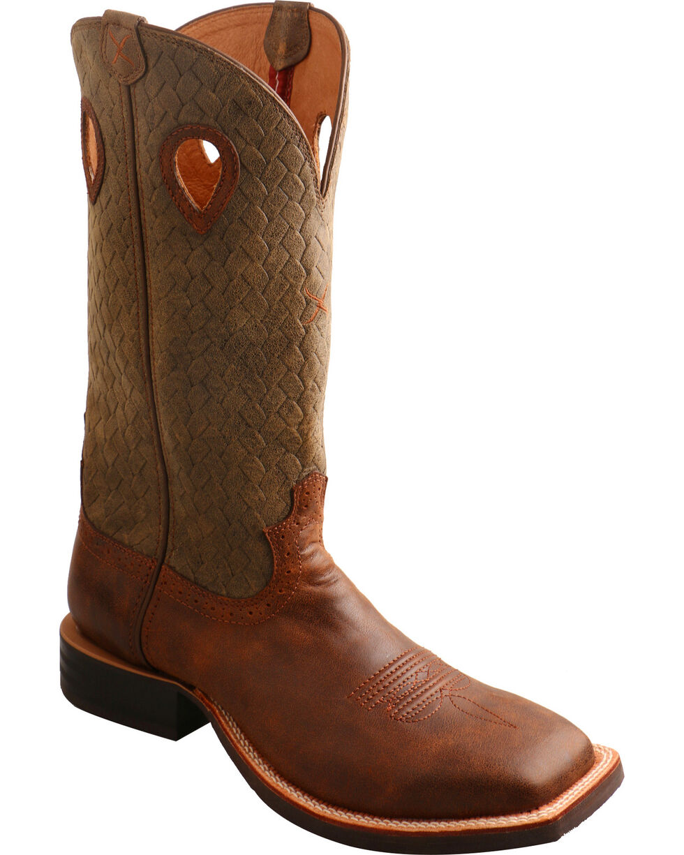 Twisted X Men's Ruff Stock Basketweave Cowboy Boots - Square Toe, Brown, hi-res