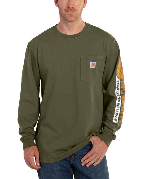Carhartt Men's Green Graphic Logo Long Sleeve Shirt, Green, hi-res