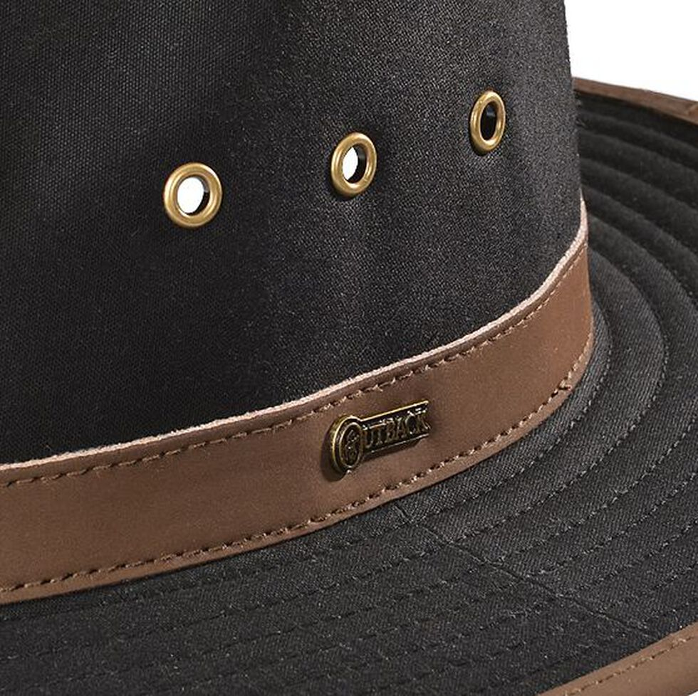 Outback Trading Co. Black Madison River UPF50 Sun Protection Oilskin Hat, Black, hi-res