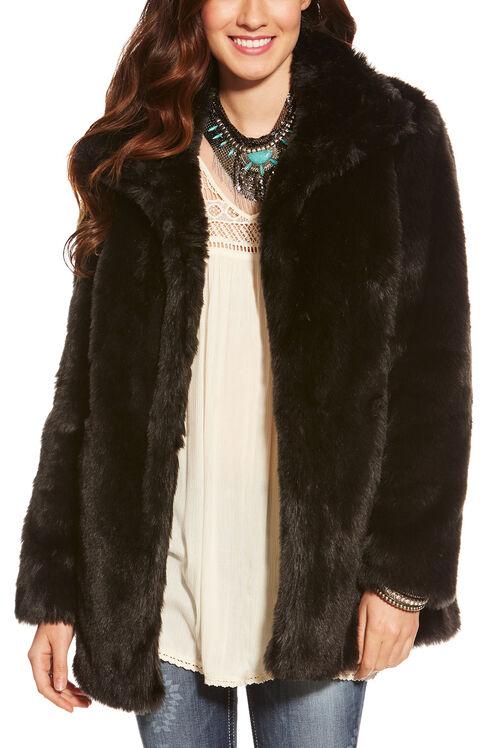 Ariat Women's Black Lux Fur Jacket , Black, hi-res