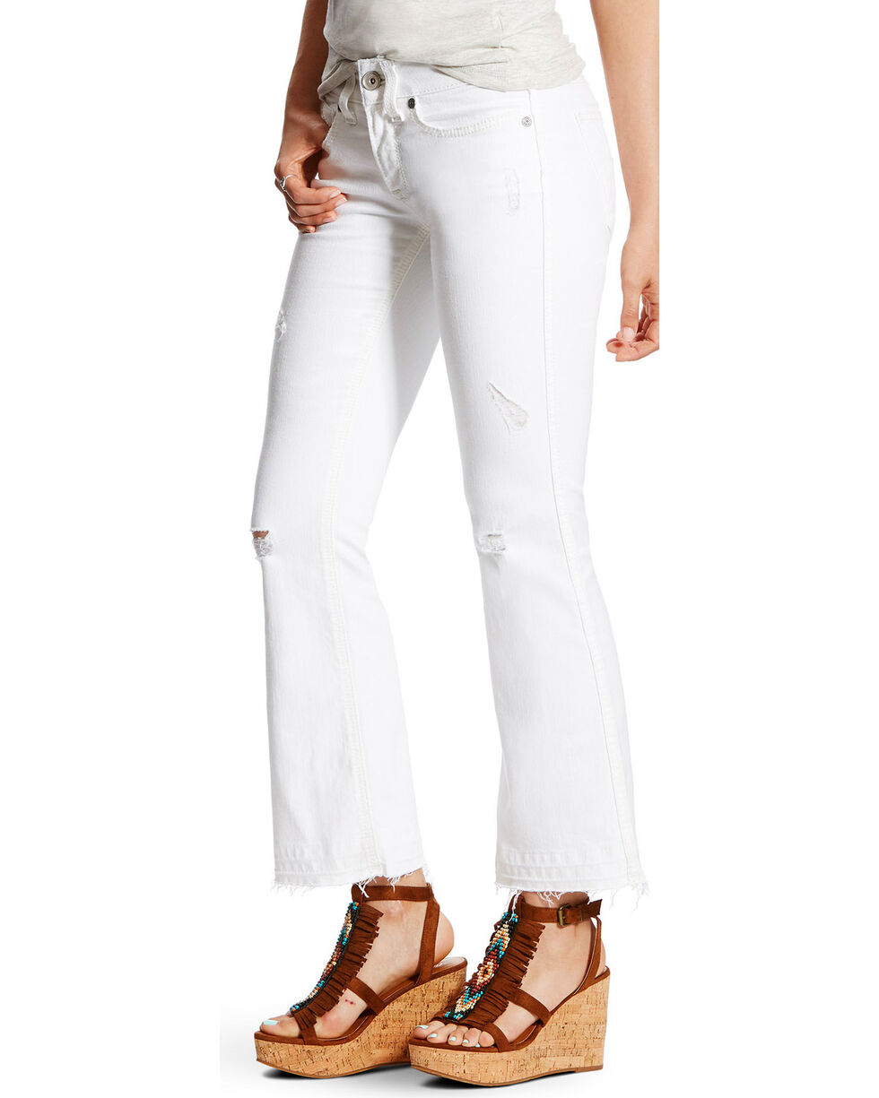 Ariat Women's R.E.A.L. Ella Cropped Mid Rise Jeans - Straight Leg, White, hi-res