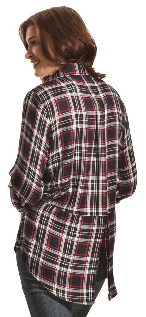 New Direction Sport Women's Navy & Red Plaid Western Shirt, Navy Plaid, hi-res