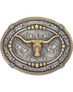 Montana Silversmiths Men's Silver Two Tone Longhorn Steer Belt Buckle , Silver, hi-res