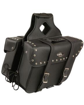Milwaukee Leather Large Zip-Off Slanted Throw Over Studded Saddle Bag, Black, hi-res