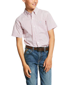 Ariat Boys' Nemano Geo Print Short Sleeve Western Shirt , Orange, hi-res