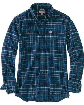 Carhartt Men's Trumbull Plaid Flannel Work Shirt - Tall , Medium Blue, hi-res