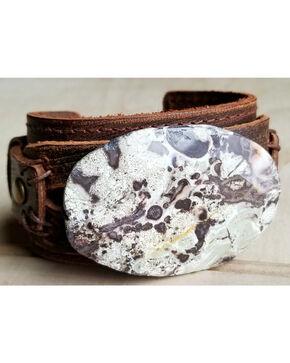 Jewelry Junkie Women's Brown Ocean Agate Leather Cuff , Brown, hi-res