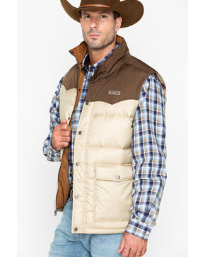Cinch Men's Quilted Down Color Block Vest, Tan, hi-res