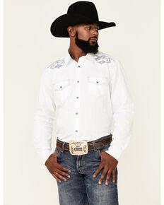 Moonshine Spirit Men's Petroglyf Embroidered Solid Long Sleeve Snap Western Shirt , White, hi-res