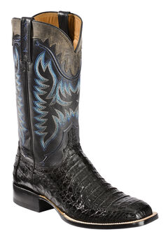Lucchese Handmade 1883 Men's Rhys Hornback Caiman Cowboy Boots - Square Toe, Black, hi-res