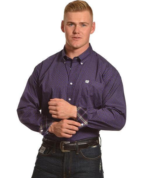 Cinch Men's Purple Plain Weave Print Long Sleeve Shirt, Purple, hi-res