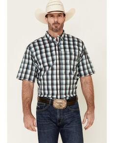 Ariat Men's Black Ombre Plaid Vent Tek Short Sleeve Western Shirt , Black, hi-res