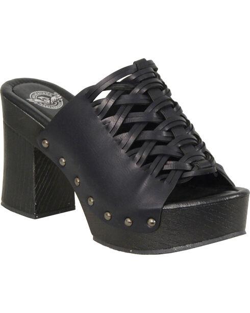 Milwaukee Leather Women's Black Studded Lace Top Platform Shoes , Black, hi-res