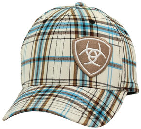 Ariat Plaid Flex Fit Cap White, White, hi-res