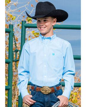Cinch Boys' Light Blue Stripe Long Sleeve Button Down Shirt, Light Blue, hi-res