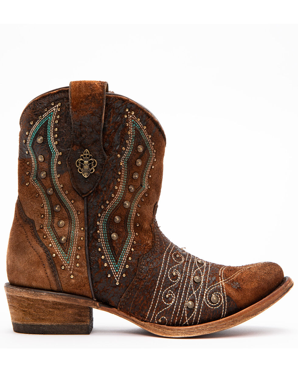 Corral Women's Lamb Embroidery Boots - Round Toe, Chocolate, hi-res
