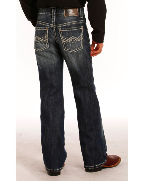 Rock & Roll Denim Boys' Dark Wash Abstract Embroidered Jeans - Boot Cut , Blue, hi-res