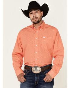 Cinch Men's Orange Geo Print Long Sleeve Western Shirt , Orange, hi-res