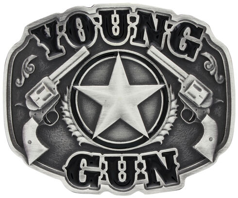Montana Silversmiths Little Attitude Young Gun Belt Buckle, Silver, hi-res