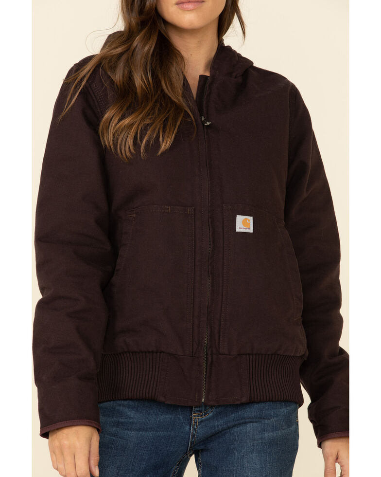 Carhartt Women's Sandstone Quilted-Flannel Active Work Jacket, Wine, hi-res