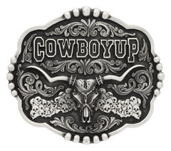Montana Silversmiths Classic Impressions Cowboy Up Skulls Attitude Belt Buckle, Silver, hi-res