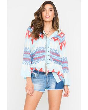 Tasha Polizzi Loredo Hooded Lace-Up Sweater , Light Blue, hi-res