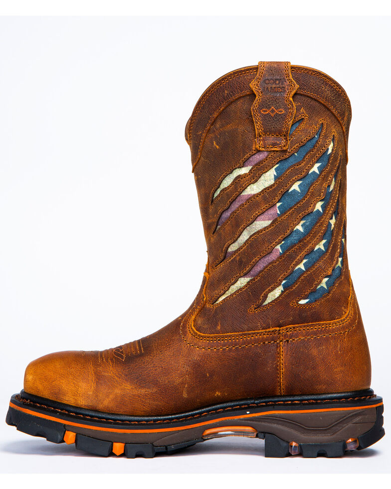 Cody James Men's Flag Western Work Boots - Nano Composite Toe, Brown, hi-res