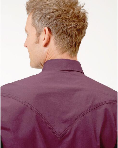 Roper Men's Performance Long Sleeve Solid Snap Shirt - Big, Burgundy, hi-res